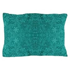 Blue-Green Suede Leather Look Embossed Pillow Case