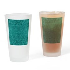 Blue-Green Suede Leather Look Embos Drinking Glass