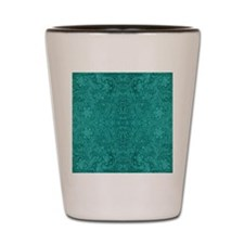 Blue-Green Suede Leather Look Embossed  Shot Glass