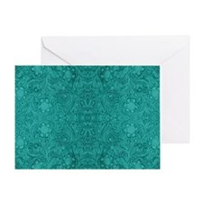 Blue-Green Suede Leather Look Emboss Greeting Card