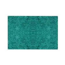 Blue-Green Suede Leather Look Emb Rectangle Magnet