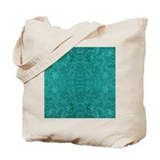 Blue-Green Suede Leather Look Embossed Fl Tote Bag