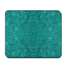 Blue-Green Suede Leather Look Embossed F Mousepad