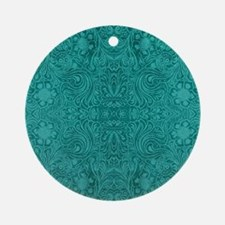 Blue-Green Suede Leather Look Embos Round Ornament