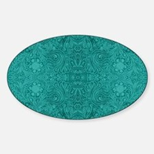 Blue-Green Suede Leather Look Embos Sticker (Oval)