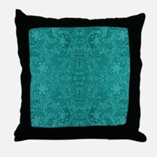Blue-Green Suede Leather Look Embosse Throw Pillow