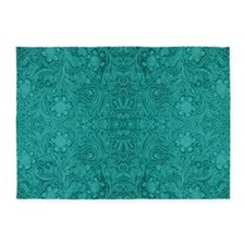 Blue-Green Suede Leather Look Embos 5'x7'Area Rug