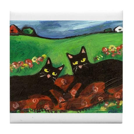 Country Blk cats Tile Coaster