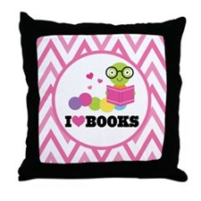 Bookworm Chevron Reading Throw Pillow