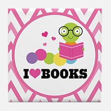 Bookworm Chevron Reading Tile Coaster
