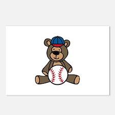 Baseball Teddy Bear Postcards (Package of 8)