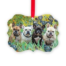 Cute Black and white french bulldog Ornament