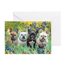 Irises-4 French Bulldogs Greeting Card