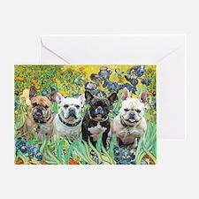 Irises-4 French Bulldogs Greeting Card
