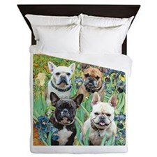 Irises-4 French Bulldogs Queen Duvet