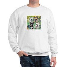 Irises-4 French Bulldogs Sweatshirt