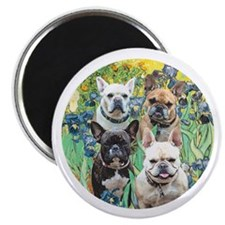 "Irises-4 French Bulldogs 2.25"" Magnet (10 pack)"