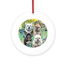 Irises-4 French Bulldogs Ornament (Round)