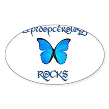 Lepidopterology Rocks 2 Oval Decal