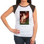 Angel & Golden Retrieve Women's Cap Sleeve T-Shirt