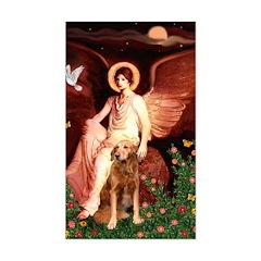 Angel & Golden Retrieve Sticker (Rectangle)