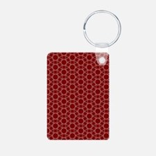Burgundy White Honeycomb P Aluminum Photo Keychain