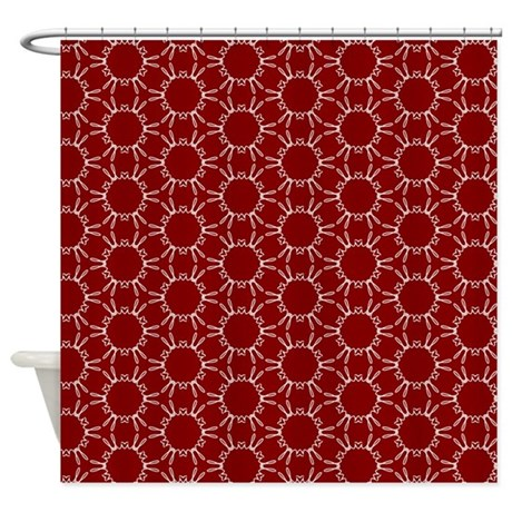 Burgundy White Honeycomb Pattern Shower Curtain By Admin Cp62117368