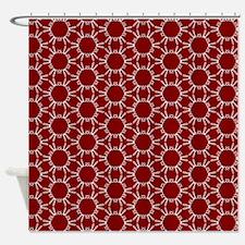 Burgundy White Honeycomb Pattern Shower Curtain