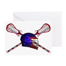 Lacrosse Helmet with sticks Greeting Card
