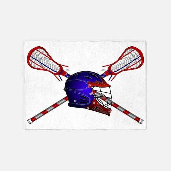 Lacrosse Helmet with sticks 5'x7'Area Rug