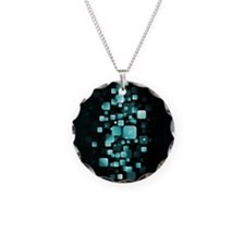 Turquoise Sparkle Falling Squares Necklace