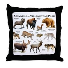 Mammals of Yellowstone National Park Throw Pillow