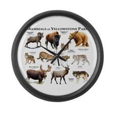 Mammals of Yellowstone National P Large Wall Clock