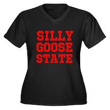 SILLY GOOSE Women's Plus Size V-Neck Dark T-Shirt