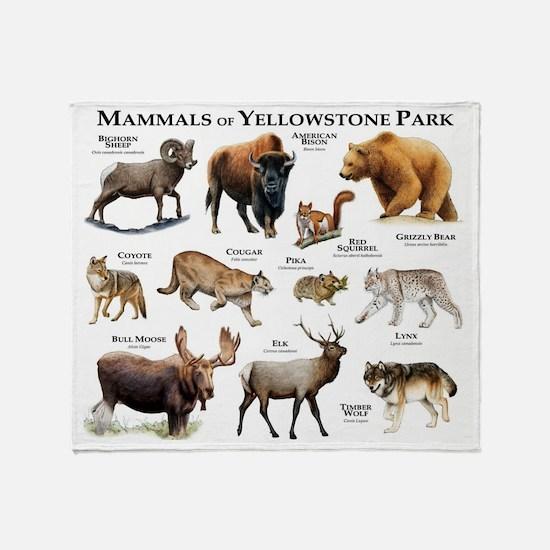 Mammals of Yellowstone National Park Throw Blanket