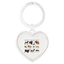 Mammals of Yellowstone National Par Heart Keychain