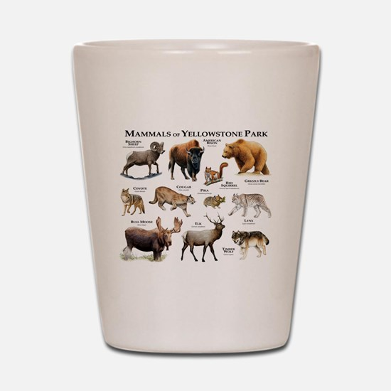 Mammals of Yellowstone National Park Shot Glass