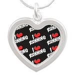 I Heart Running Silver Heart Necklace