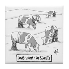 Cows From The Streets Tile Coaster