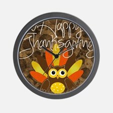 Happy Thanksgiving Shower Curtain Wall Clock