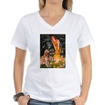 Fairies & Golden Women's V-Neck T-Shirt