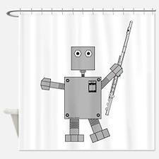 Flute Robot Shower Curtain