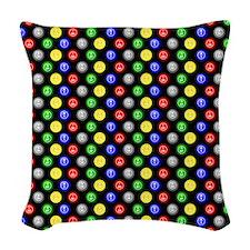 Bingo Balls Black Case.png Woven Throw Pillow