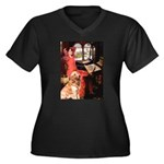 The Lady's Golden Women's Plus Size V-Neck Dark T-