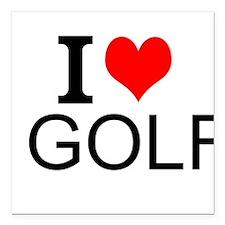 "I Love Golf Square Car Magnet 3"" x 3"""
