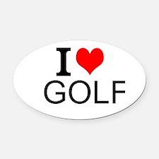 I Love Golf Oval Car Magnet