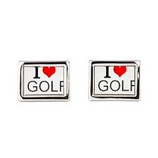 I Love Golf Rectangular Cufflinks