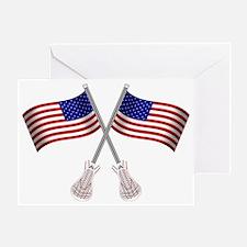 American Flag Lacrosse Sticks Greeting Card