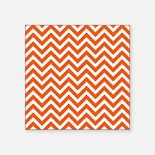 "Orange Zigzags Pattern Square Sticker 3"" x 3"""