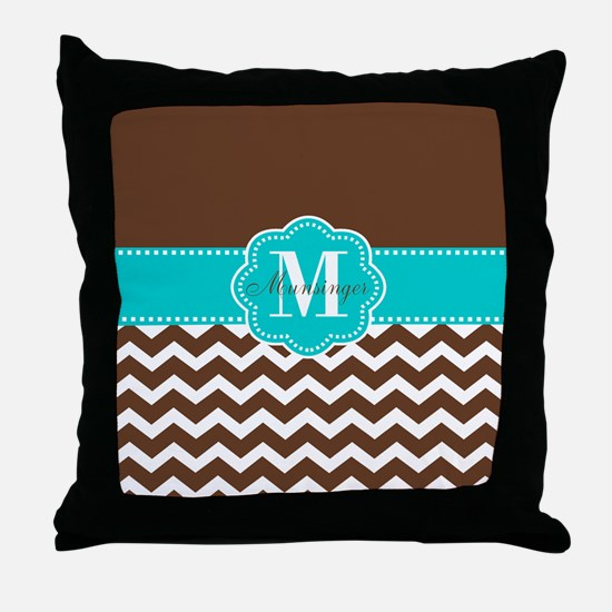 Brown Teal Chevron Personalized Throw Pillow